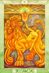 Thoth Tarot Card Number 11--Lust--Whore of Babylon riding the Beast