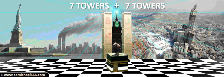 Twin Towers Sphere New York Kaaba Mecca Clock Tower Sirius