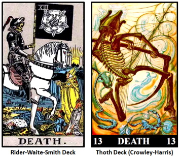 RWS and Thoth Decks---Trump 13--Death--Comparison