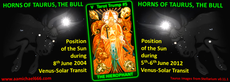 2004-2012 Venus Transit Pentagram Horns of Taurus the Bull Tarot Trump 5 The Hierophant Enthroned on Bull
