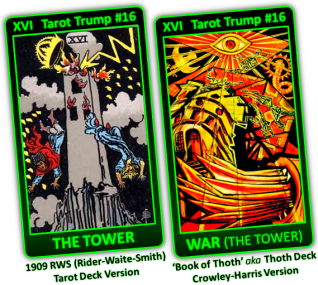 Card 16 The Tower RWS or War Crowley-Harris - Planet Mars the Planet of Horus