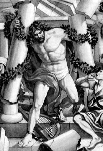 Samson destroys the twin pillars killing the Philistines and kills 3000