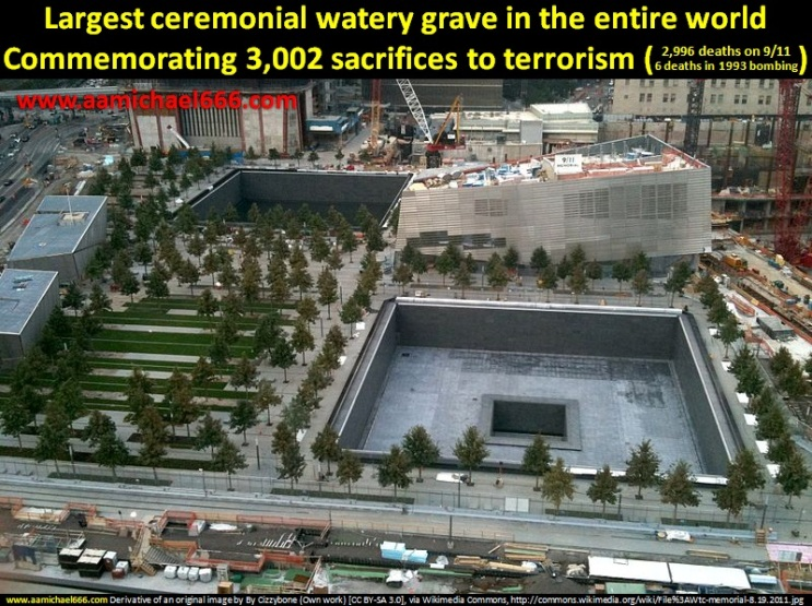 WTC Watery Grave Memorial - Samson destroys the twin pillars killing the Philistines and kills 3000