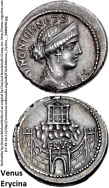 57 BC--AR Denarius--Rome mint--bust of Venus Erycina--Temple on summit of rocky mountain ERVC above gate