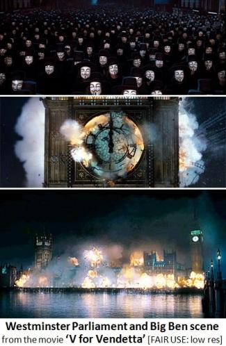 V for Vendetta Westnminster and Big Ben Clock Tower scene