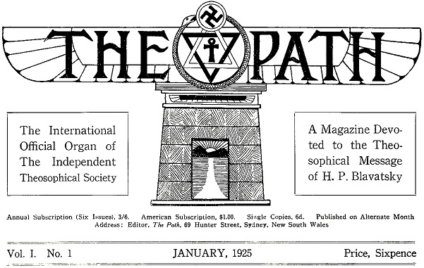 THE PATH-Theosophical Offshoot Organization Magazine Header 1925--Medium