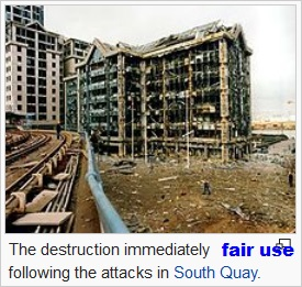 1996 Docklands Bombing in South Quay Canary Wharf Isle of Dogs