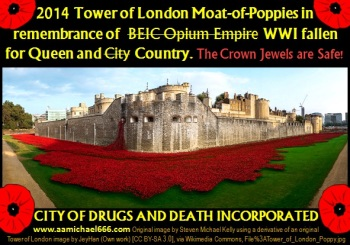 2014 Tower of London Moat-of-Poppies remembering BEIC Opium for Queen and City