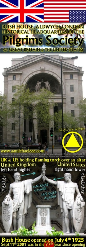 Bush House--Historical Pilgrims Society HQ--US and UK holding Torch of Fire over Altar 77