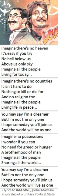 IMAGINE lyrics -- Groucho Marx and John Lennon stamp parody -- GLOBAL POLITICAL STATE A BAD IDEA