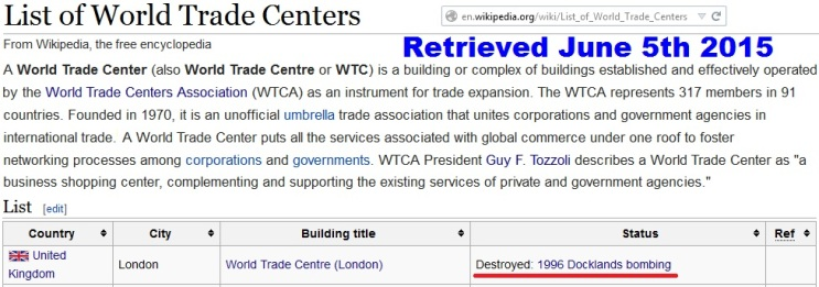 London World Trade Center Terror Attack 1996 Docklands Bombing---WTCA on Isle of Dogs and Canary Wharf