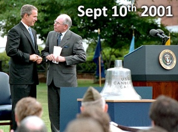 September 10th 2001---USS Canberra Ships Bell presented to John Howard by George W Bush