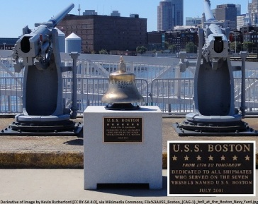 USS Boston Bell overlooking Boston Harbor